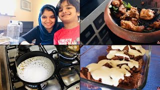 Weekend Vlog / No-yeast Vellappam/Sambar/Vendakka Pachadi/Chicken Fry/Instant Cake Pudding