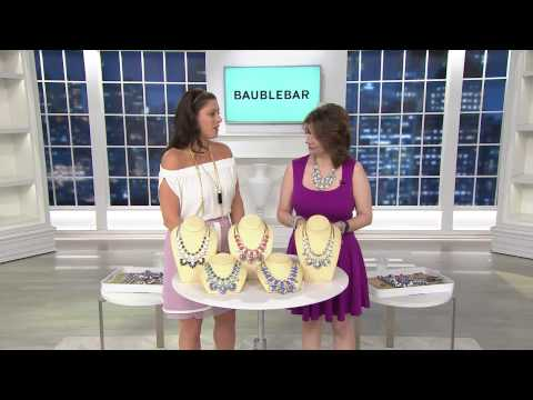 BaubleBar Crystal Feather Bib Necklace with Jacque Gonzales