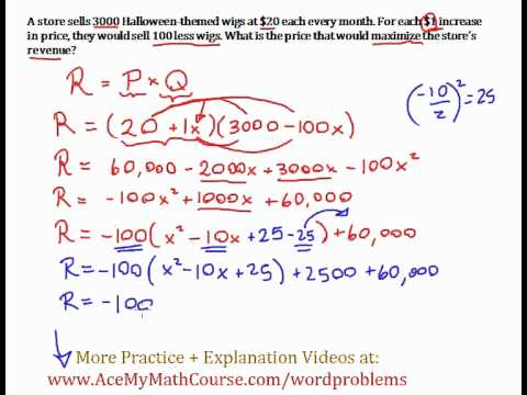 Maximizing Revenue Word Problem (Completing the Square): Straightforward Worked Example!