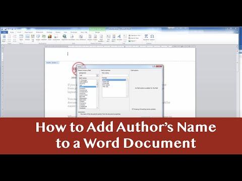 Microsoft Word Adding Author's Name to Document