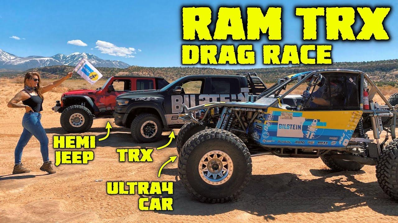 RAM TRX vs HEMI JEEP vs ULTRA4 CAR - Ultimate Off Road Drag Race
