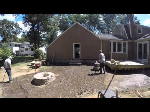 Paver Patio Installation with Fire Pit & Steps using Techo-Bloc Material