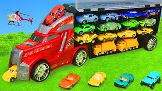 Pelleteuse, voiture de police, tractopelle, Camion de pompier pour enfants - Excavator Toys Cars