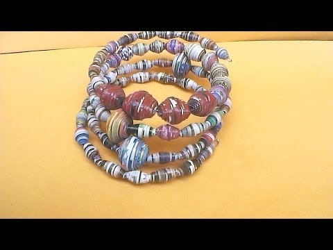 How to make Paper Bead Memory wire bracelet