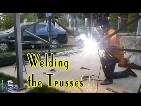 How to Build a Steel Structure House Part6 Welding Roof Trusses - Συγκόλληση Ψαλίδια