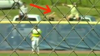 Fan Makes BARE-HANDED Home Run Catch, then FALLS Out of His Pick-Up Truck During Softball Game