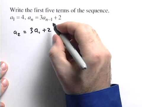 First 5 terms of recursive sequence - Example 1