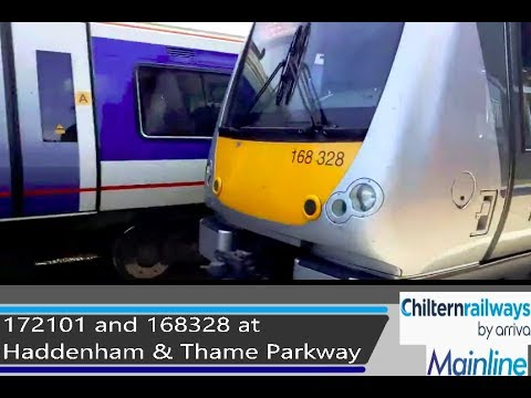 Chiltern 168328 & 172101 arrive at Haddenham & Thame Parkway - 24/8/18