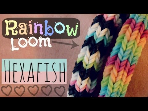 RAINBOW LOOM : HEXAFISH Bracelet - How To - 6-Pin Fishtail - Advanced | SoCraftastic