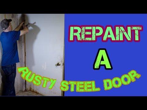 How to repaint a rusty steel door.