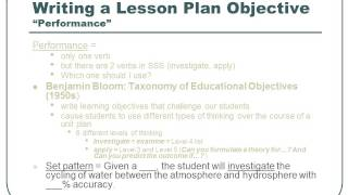Writing Educational Objectives in a Lesson Plan