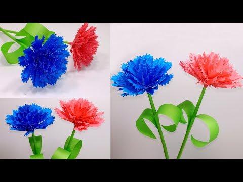 How to Make Beautiful Paper Stick Carnation Flower | Stick Flower | Jarine's Crafty Creation