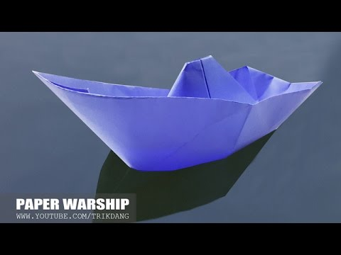 ORIGAMI FIGHTING SHIP for KIDS -  How to make a paper boat that Floats on Water | Warship