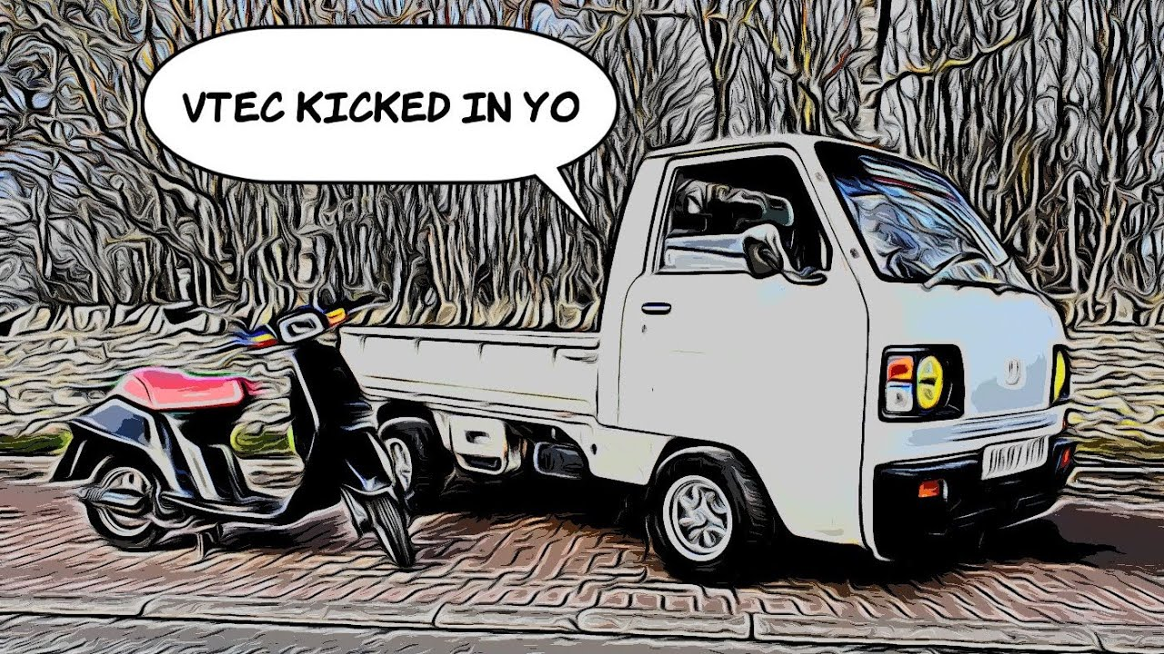 modified kei truck and moped for a kaido racer style project