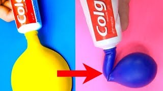 Trying 17 AMAZING LIFE HACKS WITH BALLOONS by 5 Minute Crafts