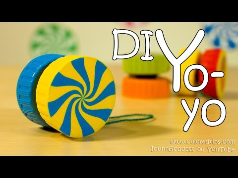 How To Make A Yo-Yo - Easy Way of DIY Yoyo Made Out Of 2 Plastic Caps