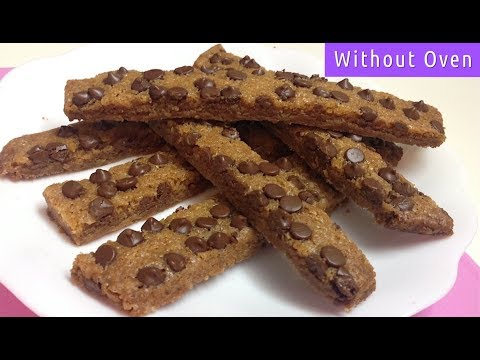Eggless Cookie Sticks  Without Oven - How to Make Chocolate Chip Cookie Sticks in Vessel