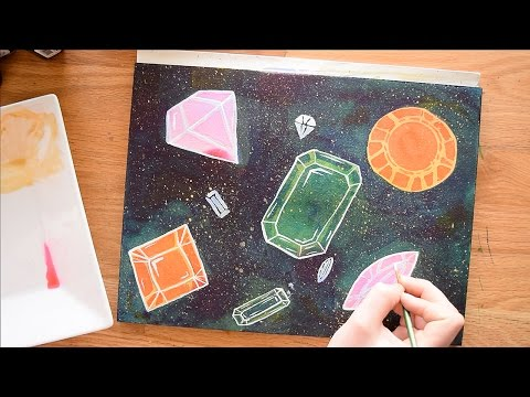 Negative Watercolor Painting Techniques ~ With Gemstones