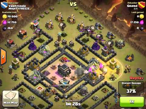 Clash of Clan Balloon, Hog Rider and Minion Attacking Strategy Guide TH9