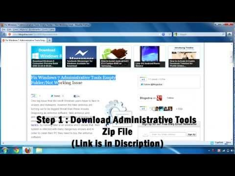 How to Fix Windows 7 Administrative Tools Not Working / Empty Folder