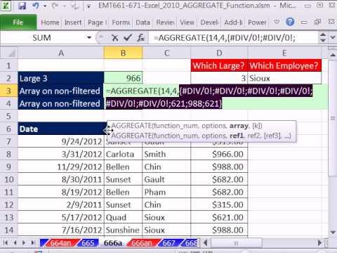 Excel 2010 Magic Trick 666: AGGREGATE Function Array Formula #1 Single Cell Array Formula