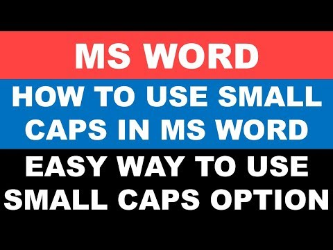 How to use small caps in ms word