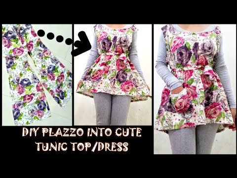 Convert/Recycle/Reuse Old Plazzo Pants into cute tunic top/Dress Only in 2 minutes