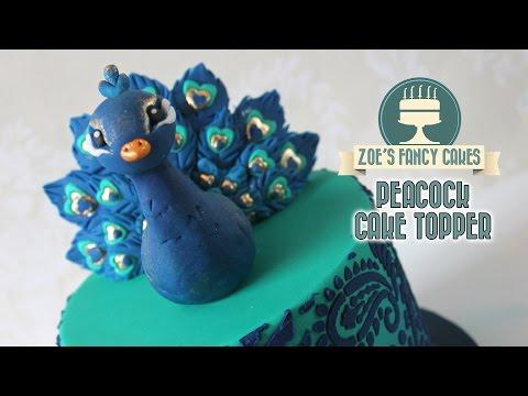 Peacock cake topper model using gum paste