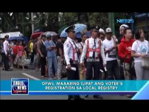 OFWs, maaring ilipat ang voter's registration sa local registry