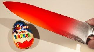 EXPERIMENT Glowing 1000 degree KNIFE VS KINDER SURPRISE EGG