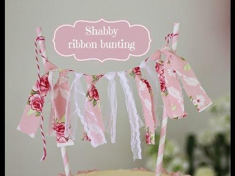Shabby Ribbon Bunting Cake Topper