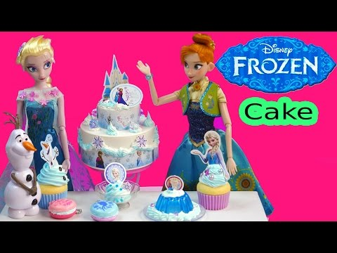 Disney Frozen Whipple Frosting 2 Tiered Birthday Cake with Queen Elsa & Anna - Cookieswirlc Video