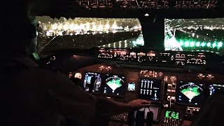 Boeing 747-400 Miami Take-off in Heavy Rain - Cockpit View
