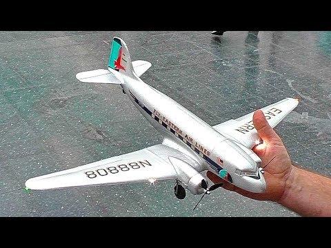 STUNNING LIGHTWEIGHT 36 GRAM DC-3 NANO SCALE MODEL AIRPLANE FLIGHT DEMONSTRATION