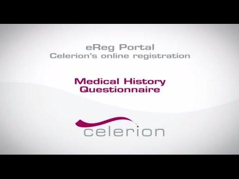 Celerion's eReg Portal - Medical History Questionnaire