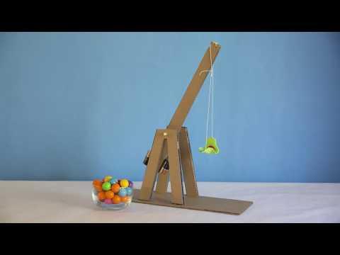 MYO - Make Your Own Gumball Trebuchet out of Cardboard