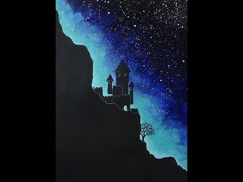 Easy Acrylic Painting Starry Sky & Mountaintop | Castle and Tree Silhouette Painting
