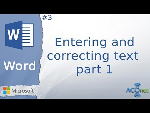 MICROSOFT WORD: Entering and correcting text - part 1 (lesson 3)