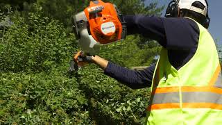 How to Safely Use a Commercial Gasoline Powered Hedge Trimmer | Husqvarna