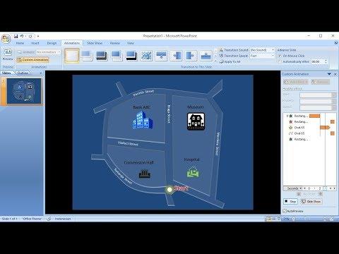 Tutorial powerpoint 2007 |Cara Membuat Animasi Penunjuk Arah Peta dengan Shapes di Powerpoint