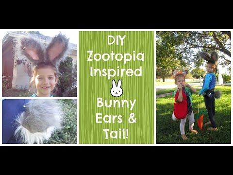 DIY Zootopia Inspired Bunny Ears and Tail Judy Hopps Costume
