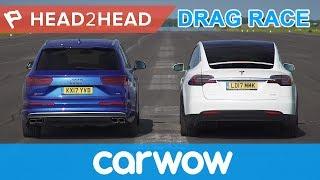 Tesla Model X vs Audi SQ7 - Electric vs Diesel acceleration challenge   Head2Head