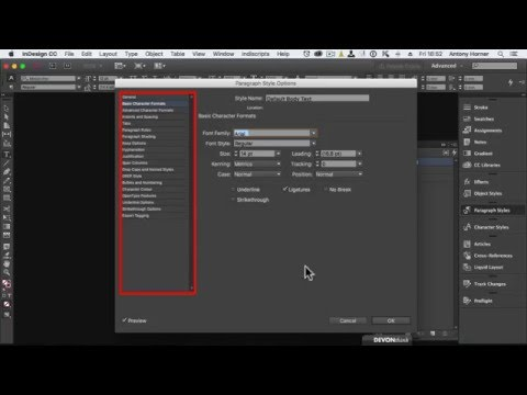 InDesign - Setting the default font.