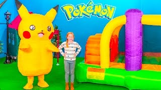 POKEMON Assistant Inflatable Bounce House and Ball Pit Pokemon Hunt In Real Life Video