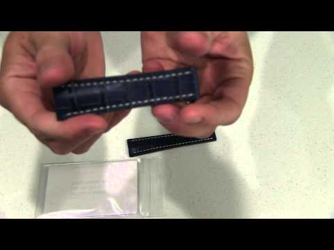 Panatime Blue Gator with White Stitching for Original Breitling Deploy band width 24mm Unboxing