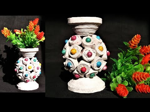 How to make flower pot with newspaper | Newspaper craft