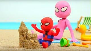 Spiderman Baby Spidergirl Play Doh Cartoons Superhero Babies Frozen Elsa Hulk Stop Motion