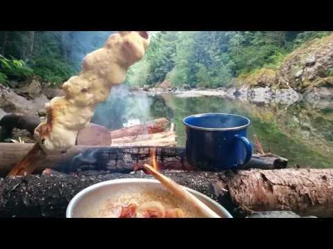 Baking Bannock and Bacon on a Campfire