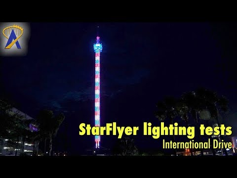 Lights on the StarFlyer on International Drive in Orlando Florida