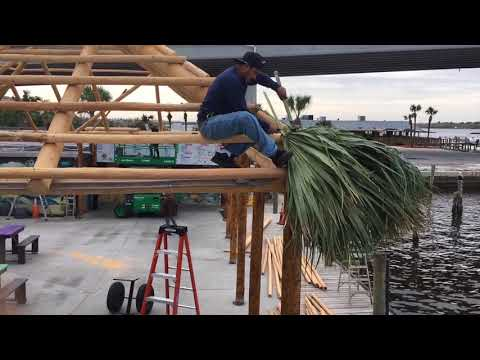 Building a Tiki Hut- Thatching the roof